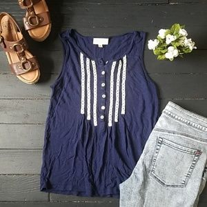 Anthropologie Blue and White Tank blouse